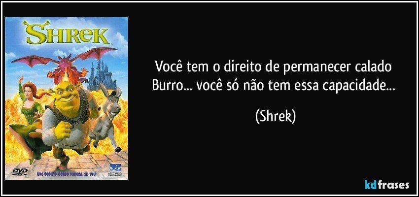 Você tem o direito de permanecer calado Burro... você só não tem essa capacidade... (Shrek)
