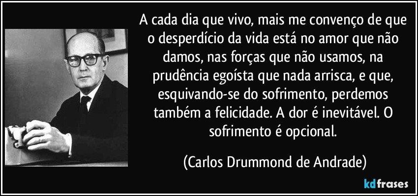 A cada dia que vivo, mais me convenço de que o desperdício da vida está no amor que não damos, nas forças que não usamos, na prudência egoísta que nada arrisca, e que, esquivando-se do sofrimento, perdemos também a felicidade. A dor é inevitável. O sofrimento é opcional. (Carlos Drummond de Andrade)