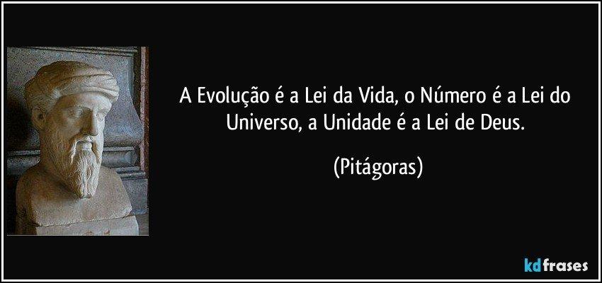 A Evolução é a Lei da Vida, o Número é a Lei do Universo, a Unidade é a Lei de Deus. (Pitágoras)