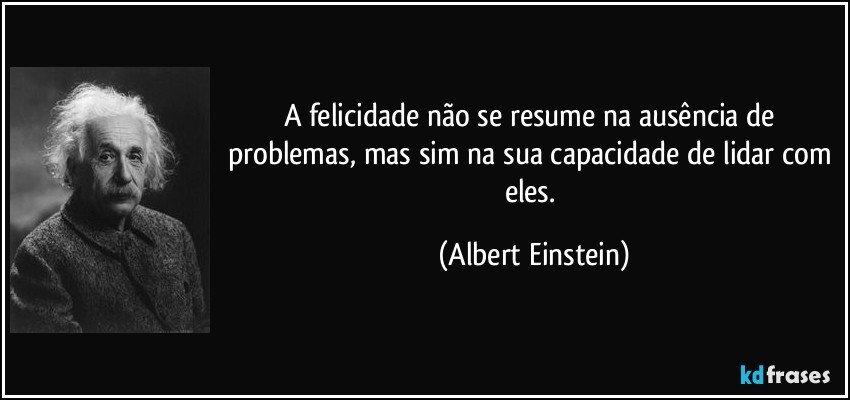 A felicidade não se resume na ausência de problemas, mas sim na sua capacidade de lidar com eles. (Albert Einstein)