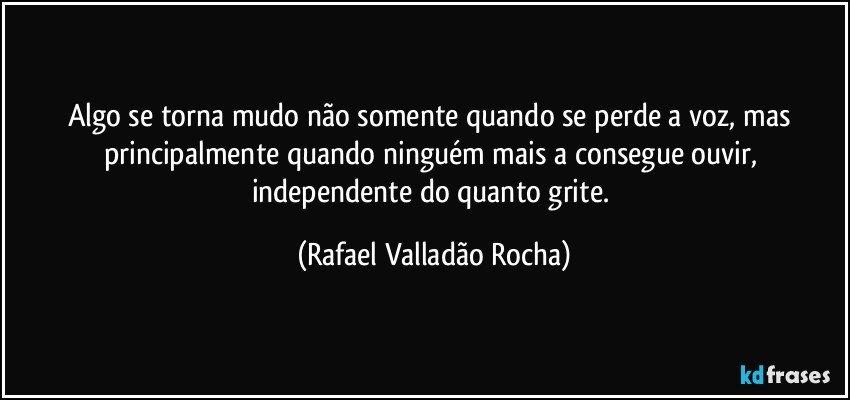 Algo se torna mudo não somente quando se perde a voz, mas principalmente quando ninguém mais a consegue ouvir, independente do quanto grite. (Rafael Valladão Rocha)