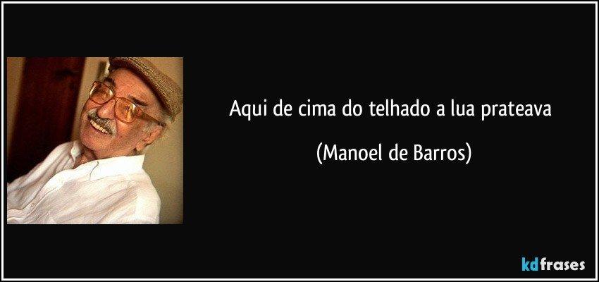 Aqui de cima do telhado a lua prateava (Manoel de Barros)