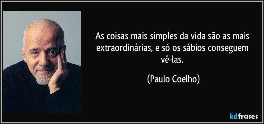 As coisas mais simples da vida são as mais extraordinárias, e só os sábios conseguem vê-las. (Paulo Coelho)