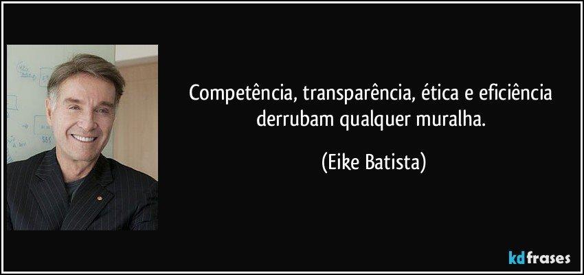 Famosos Competência, transparência, ética e eficiência derrubam QT39