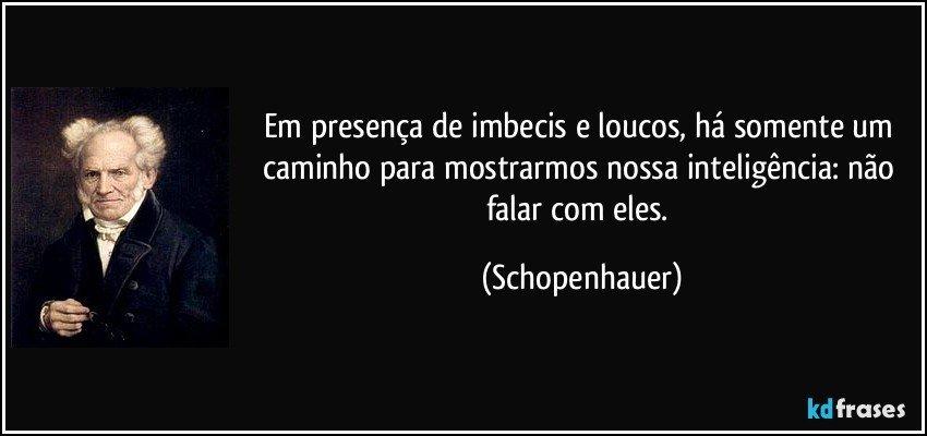 Em presença de imbecis e loucos, há somente um caminho para mostrarmos nossa inteligência: não falar com eles. (Schopenhauer)