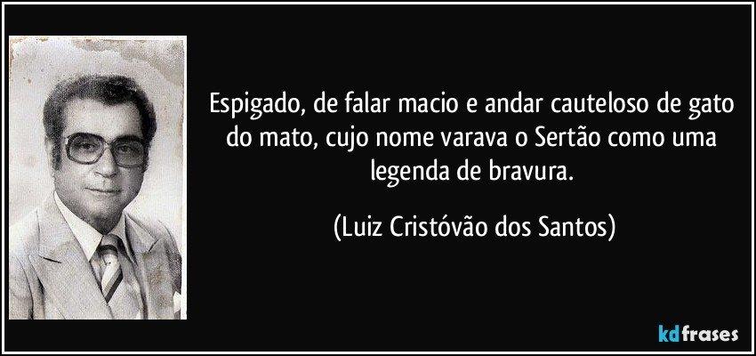 Espigado, de falar macio e andar cauteloso  de gato do mato, cujo nome varava o Sertão como uma legenda de bravura. (Luiz Cristóvão dos Santos)