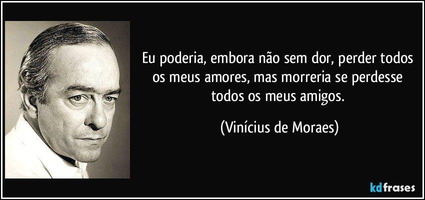 Eu poderia, embora não sem dor, perder todos os meus amores, mas morreria se perdesse todos os meus amigos. (Vinícius de Moraes)