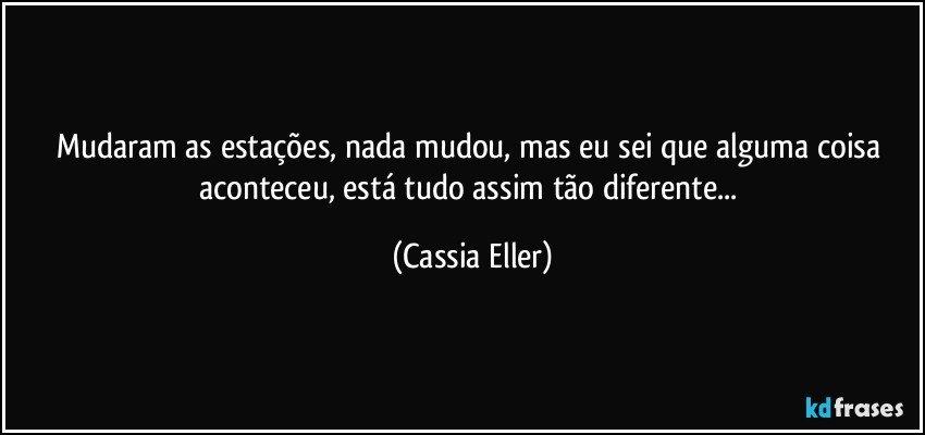 Mudaram as estações, nada mudou, mas eu sei que alguma coisa aconteceu, está tudo assim tão diferente... (Cassia Eller)