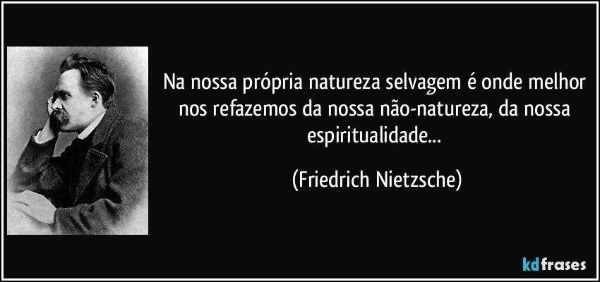 Na nossa própria natureza selvagem é onde melhor nos refazemos da nossa não-natureza, da nossa espiritualidade... (Friedrich Nietzsche)