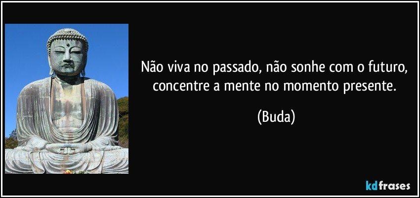 Não viva no passado, não sonhe com o futuro, concentre a mente no momento presente. (Buda)