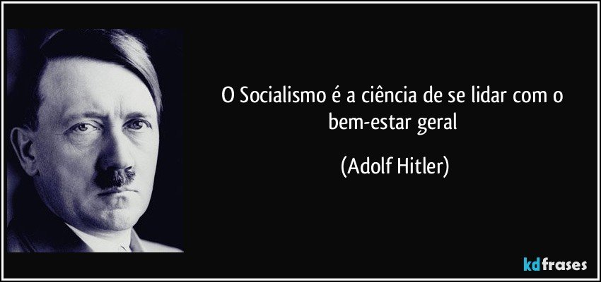 O Socialismo é a ciência de se lidar com o bem-estar geral (Adolf Hitler)