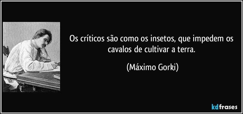 Os críticos são como os insetos, que impedem os cavalos de cultivar a terra. (Máximo Gorki)