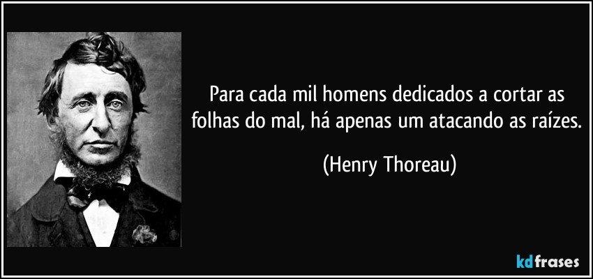 Para cada mil homens dedicados a cortar as folhas do mal, há apenas um atacando as raizes (Henry Thoreau)