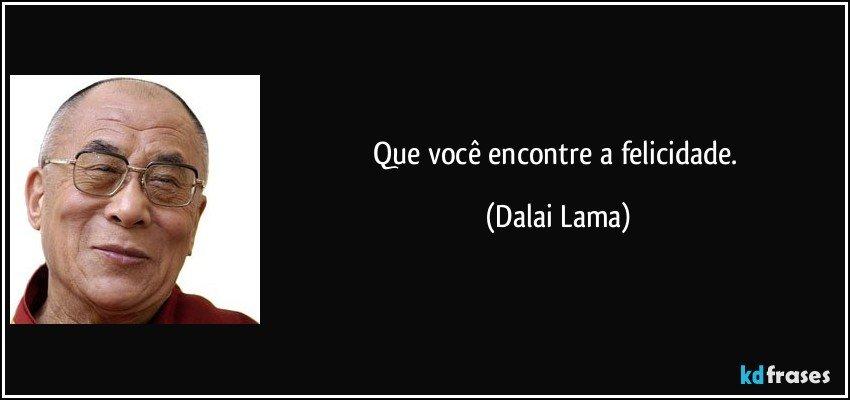 Que você encontre a felicidade. (Dalai Lama)