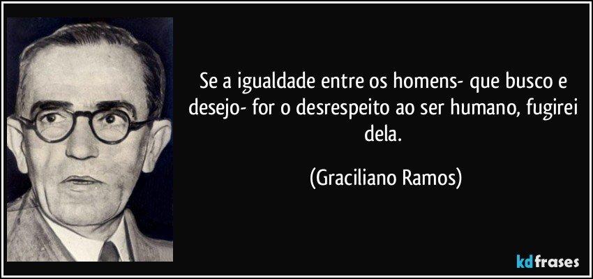 Se a igualdade entre os homens- que busco e desejo- for o desrespeito ao ser humano, fugirei dela. (Graciliano Ramos)