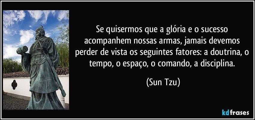Se quisermos que a glória e o sucesso acompanhem nossas armas, jamais devemos perder de vista os seguintes fatores: a doutrina, o tempo, o espaço, o comando, a disciplina. (Sun Tzu)
