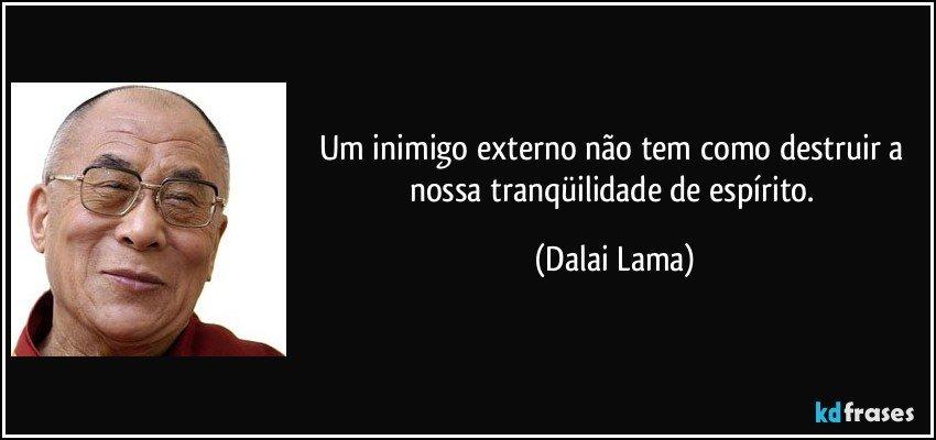 Um inimigo externo não tem como destruir a nossa tranqüilidade de espírito. (Dalai Lama)