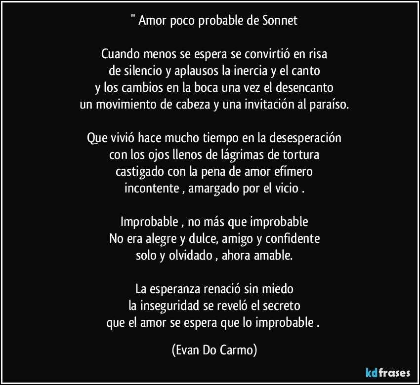 Amor Poco Probable De Sonnet Cuando Menos Se Espera Se