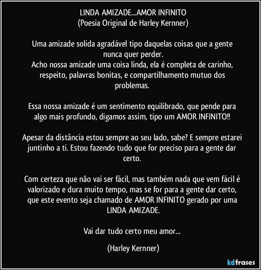 Linda Amizadeamor Infinito Poesia Original De Harley